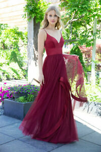 HAYLEY PAIGE BRIDESMAID/PROM DRESS BURGUNDY SATIN WITH TULLE SKIRT BNWT US10