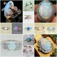 Fire Opal Moonstone 925 Sterling Silver Ring Fashion Women Men Jewelry Size#6-10