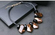 BOLD STATEMENT NECKLACE - MARBLED BROWN & OPAQUE BLACK - FREE UK P&P....T129