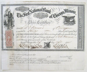 First National Bank Chicago Stock Certificate 1864 R43
