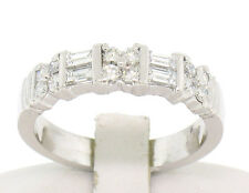 FIERY Solid Platinum 1.00ctw Round & Baguette QUALITY VVS F Diamond Band Ring