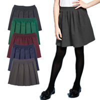 Girls School Uniform Pleated Skirt Full Elasticated Waist Box Pleat For School