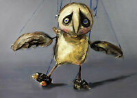 ACEO Print of original oil painting bird owl outsider art Card ATC wildlife toy