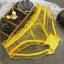 Women Sexy Sheer Knickers  Transparent stretched underwear. Free size Yellow UK