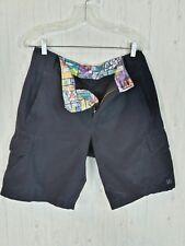 Lululemon Mens Black Cargo Shorts Size 32 Golf Hiking Hex Logo