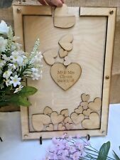 Personalised Rustic Wood Love Hearts Fun Wedding/Party Guestbook Drop In Frame