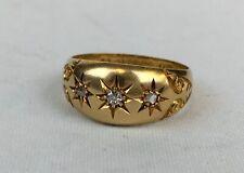 Antique 1910 18ct Yellow Gold 3 Stone Diamond Gypsy Ring Size O 4.1g