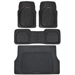 Motor Trend Automotive All Weather Car Floor Mats & Cargo Trunk Set, Full Black