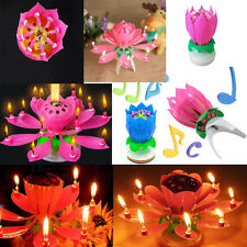 Funny Lotus Flower Musical Blossom Birthday Cake Candles Topper Party Decoration