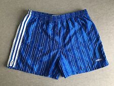 ADIDAS Shorts 90s Vtg Sprinter Football  Nylon 3-Stripe Shiny Blue USA Made M