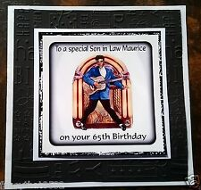 Mens Handmade Personalised Birthday Card ANY AGE Jukebox Rock & Roll 60th 70th