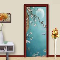 3D Hand-painted Plum Bird Self-Adhesive Door Murals Sticker Bedroom Wallpaper