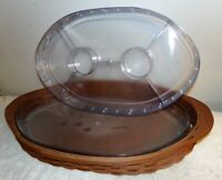 Longaberger Baskets oval server & 2 inserts with lid 2007