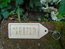 SHED KEYRING KEY RING CHAIN LARGE SHEDS KEYS GARDEN WOOD EFFECT DAD FATHER GIFT