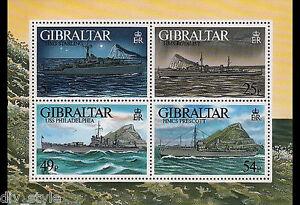 WW II Warships souvenir sheet mnh Gibraltar 1996 HMS Starling HMS Royalist