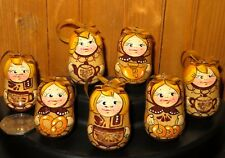 Genuine HAND PAINTED MATRYOSHKA ORNAMENTS Dolls 7 Christmas Tree TEA Samovar Set