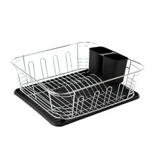 Calitek Chrome Kitchen Dish Rack Drainer with Drip Tray & Cutlery Holder