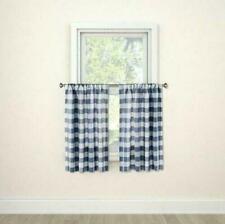 Threshold Ice Blueberry Check Window Curtain 2 Panels 42x36