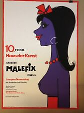 POP ART POSTER  PLAKAT FASCHING MÜNCHEN 60ER JAHRE  MALEFIX BALL HAUS DER KUNST