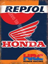 Vintage Garage 56 Honda Racing Motorcyle Repsol Motorbike, Large Metal/Tin Sign