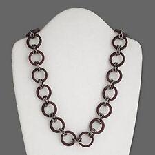 Wood Chain Necklace Bulky Gunmetal 27-29 inch Art Deco Jewelry