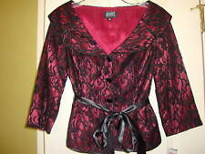 NWT $180 ADRIANNA PAPELL BLACK WINE LACE PANT SUIT XS 4