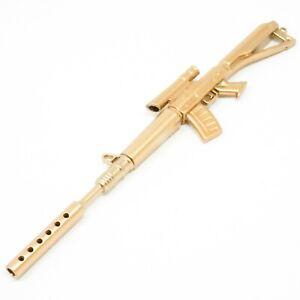 Novelty Gun Shaped Pen Key Ring Rifle Golden School Stationery Gift - UK SOLD!