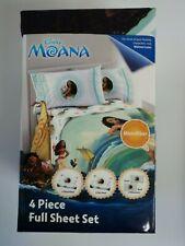Kids Children Girl Toddler Disney Moana 4 PC Full Sheet Bed Set Microfiber New