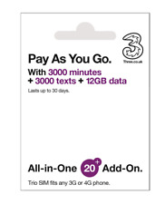 Prepaid Europe (Uk Three) sim card 12Gb data+3000mins Us Fast Shipping