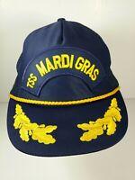 Vintage TSS Mardi Gras Snapback Trucker Hat Cap Embroidered Gold Leaf Rope Blue
