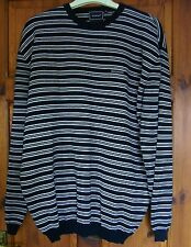 Rockport mens striped jumper navy white cotton XL hardly used