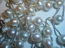 "Italian 36"" White Quality Cultured Pearl 6.5mm Necklace Ster Venetian Link Chain"