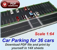 1:64 Paper Model kit in PDF files to print Car Parking for 36 HW cars
