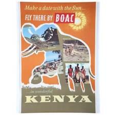 Vintage British Overseas Airways Airline Advertising Poster, Kenya c. 1950