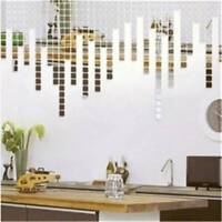 100PCS Mirror Square Wall Stickers Decoration Portable Stickers HS