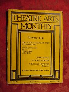 THEATRE ARTS January 1937 John Gielgud Katharine Cornell Betty Joiner