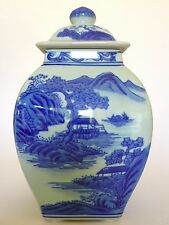 Fine Chinese Blue&White 4Side Oriental Porcelain Tea Jar Caddy/Vase w Lid SIGNED