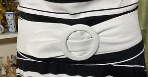 RETRO 1980s Fashion White 100% soft Leather Wide Clinch Waist Belt S