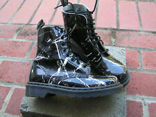 DR DOC MARTENS PASCAL WOMENS BOOTS SIZE 6 PATENT BLACK MARBLE