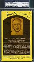 HANK GREENBERG PSA/DNA COA GOLD HOF PLAQUE AUTHENTIC  HAND SIGNED AUTOGRAPH