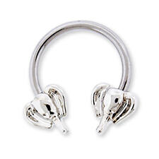 Elephant Heads on Horseshoe Nipple Ring 14g Body Piercing Jewelry