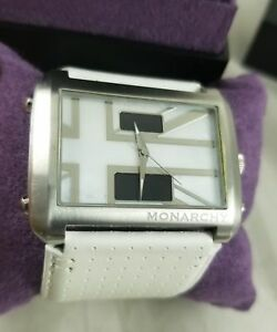 Monarchy Men's Union Jack Mother Of Pearl Dial White Leather Wrist Watch MCUL007