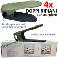 4x PORTA SCARPE A DOPPIO RIPIANO PER ARMADIO SCOMPARTI SCARPIERA SALVASPAZIO