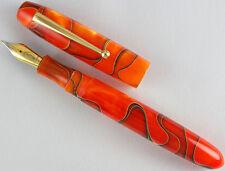 Edison Collier Persimmon Swirl Steel Nib Fine Point Fountain Pen - New In Box