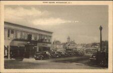Woonsocket RI Flynn Square Old Cars Postcard