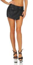 Damen Mini Rock kurze Hose Lederimitat Zipper Stretchrock Hüftrock 2in1 Optik
