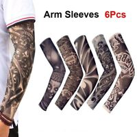 6pcs Tattoos Cooling Arm Sleeves Cover UV Sun Protection Basketball Golf Sports