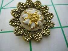 W. Germany Round Goldtone Scarf Clip. floral design