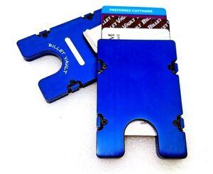 Mens Billet Aluminum Wallet, RFID protection, Plain Front, Blue anodized