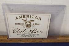 Vintage American Club Beer Bottle Label Lembeck & Betz New Jersey Eagle Brewing